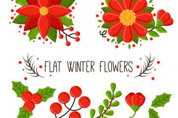 10款扁平化冬季植物矢量素材
