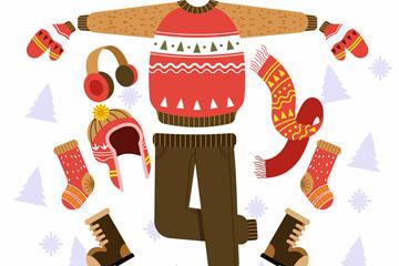 手绘冬季服饰套装矢量素材