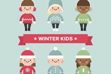 6款可爱冬季儿童设计矢量素材