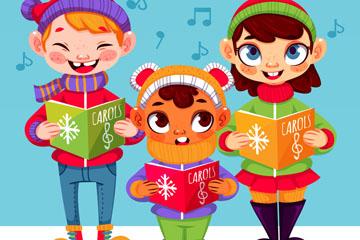 3个冬季唱歌的儿童矢量素材