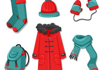 6款彩色冬季服装和配饰矢量图