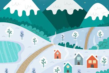 创意冬季夜晚村庄风景矢量素材