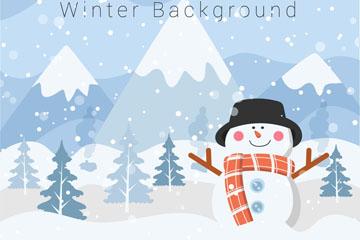 卡通冬季雪中的雪人矢量素材