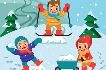 3个卡通冬季郊外玩耍的儿童矢量图