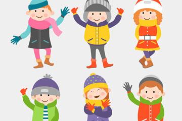 6款可爱冬季服饰儿童矢量素材