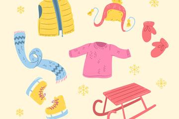 6款彩绘冬季服装和配饰矢量图