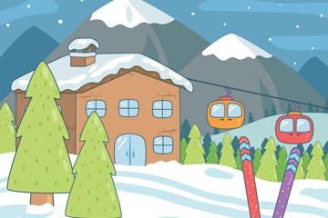 卡通冬季滑雪场风景矢量素材