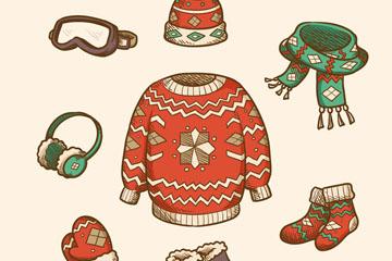 彩绘冬季花纹服饰套装矢量素材