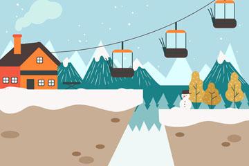 彩绘冬季滑雪场矢量素材