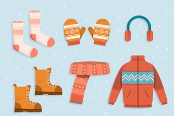 9款时尚冬季服饰设计矢量图