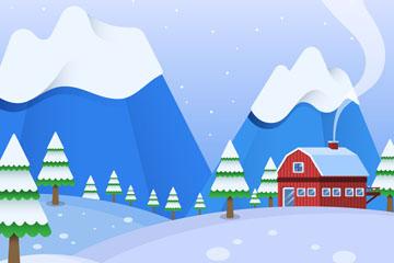 创意冬季郊外房屋风景矢量素材