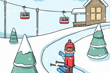 彩绘冬季滑雪场人物乐虎国际线上娱乐乐虎国际