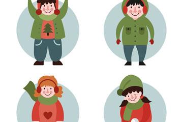 4款创意冬季微笑儿童矢量素材