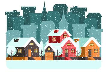创意雪中的城市房屋矢量素材
