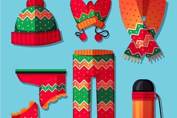 6款彩色花纹服装配饰矢量素材