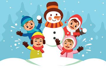 卡通堆雪人的四个儿童矢量素材