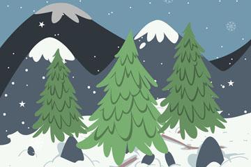彩绘冬季雪山树木风景矢量素材