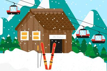 创意雪中的滑雪场矢量素材