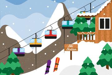 创意冬季滑雪缆车风景矢量素材