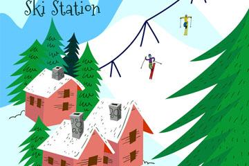 彩绘雪山滑雪场设计矢量素材