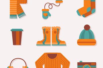 9款橙色冬季服饰和用品矢量素材