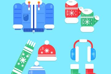 9款卡通冬季服饰矢量素材