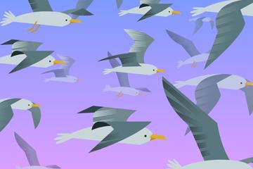 彩绘海鸥群设计矢量素材