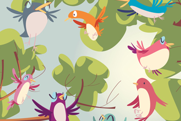 8只彩绘树梢的鸟矢量素材