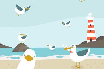 卡通沙滩边的海鸥矢量素材