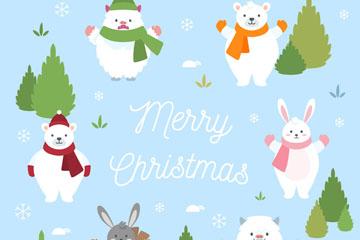 6只圣诞节动物组合圆形矢量素材
