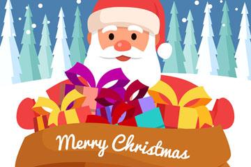 卡通圣诞老人和大礼包矢量素材