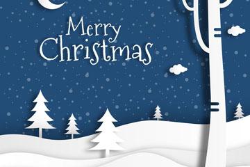 白色圣诞节郊外风景剪贴画矢量图