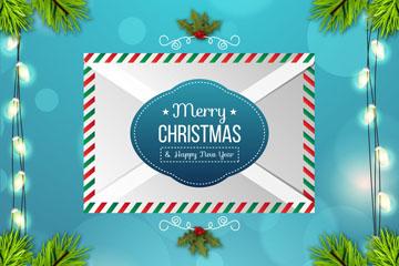 精美圣诞节祝福信封矢量素材