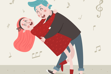 创意情人节跳舞的情侣矢量素材