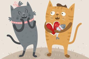 创意情人节猫咪情侣矢量素材
