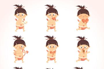 9款可爱丘比特表情矢量素材