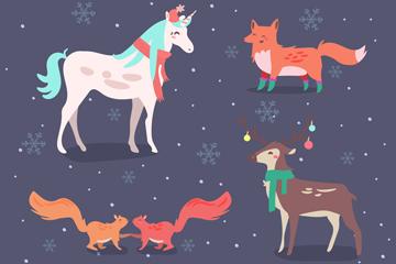 5款创意冬季森林动物矢量图