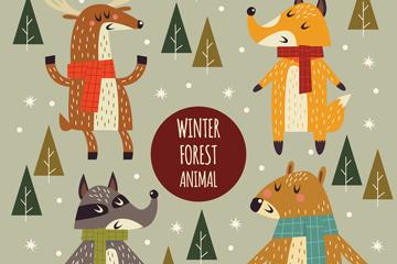 4款彩绘冬季动物矢量素材