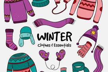 15款彩色花纹冬季衣物矢量素材