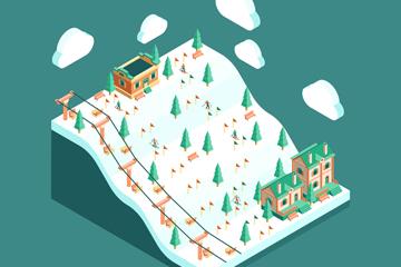 创意立体滑雪场设计矢量素材