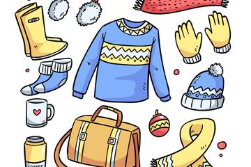 12款彩色冬季物品矢量素材