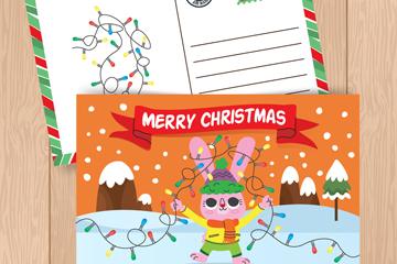 彩绘兔子圣诞节明信片正反面矢量