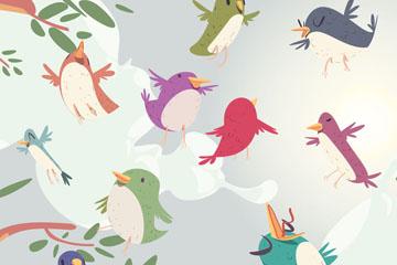 10只可爱树梢上的鸟矢量素材