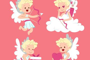 4款可爱金发天使矢量素材