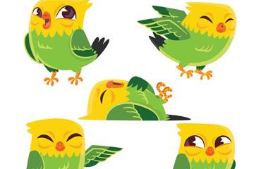 5款卡通鹦鹉设计矢量素材