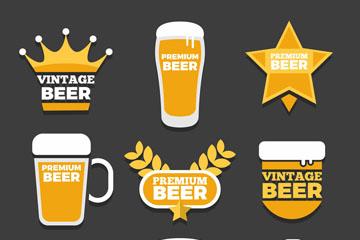 9款金色啤酒标签矢量素材