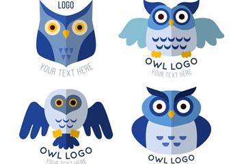 4款蓝色猫头鹰标志矢量素材