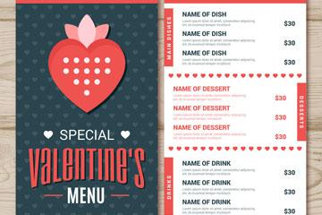 创意情人节菜单正反面矢量素材