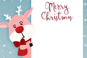 创意圣诞驯鹿装饰纸板矢量素材