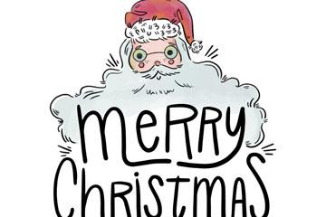 彩绘圣诞老人圣诞快乐艺术字矢量图